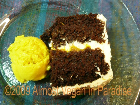 Birthday cake with vegan mango frozen dessert