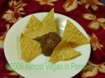 Chocolate-Canary Bean Dip with Organic Tortilla Chips