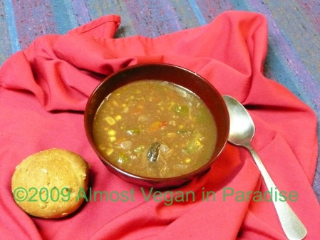 Chocolate-Vegetable Soup with Sunflower-Oatmeal Rolls