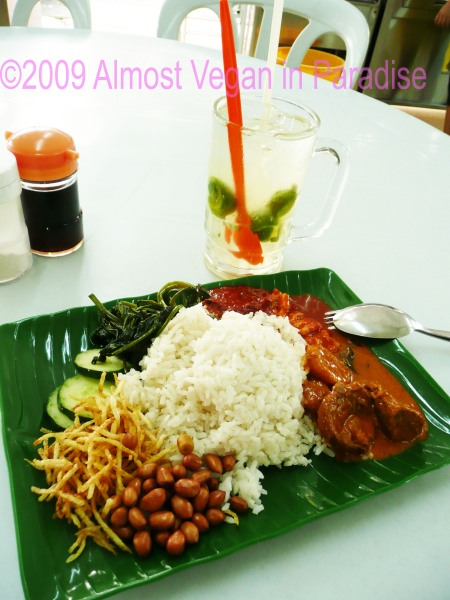 Vegetarian Nasi Lemak, rice with curries, and Ais Limau, limeade