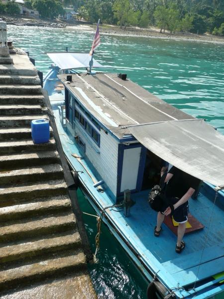 The blue diesel-belching boat