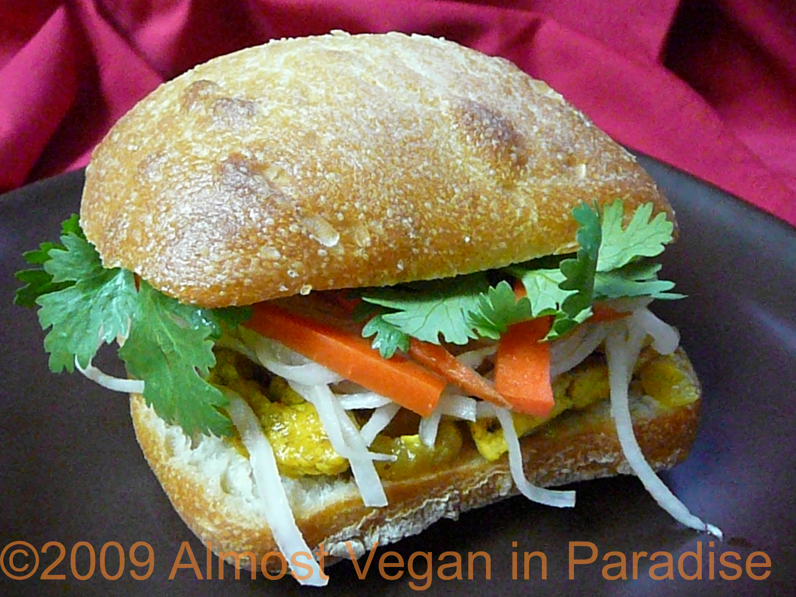 Vegan Bahn Mi, Vietnamese Sandwich, with Lemongrass Tofu and Pickled Daikon and Carrots