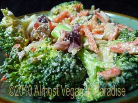 vegan broccoli cranberry salad