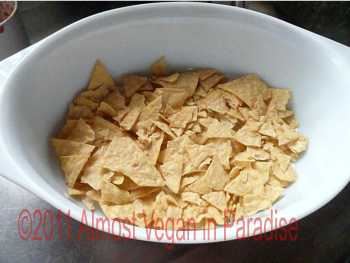 Tortilla chips on the bottom