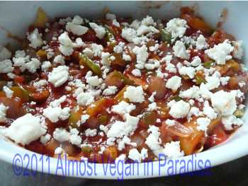 One layer of vegetarian chilaquiles